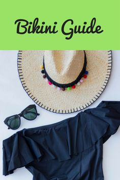 bikini guide, topshop black ruffle off the shoulder swimsuit, pom pom straw hat, pompom, karen walker sunglasses, dupes
