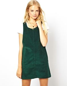 ASOS Cord Pinafore Dress in Green £35  want! size 14  http://www.asos.com/pgeproduct.aspx?iid=3056674