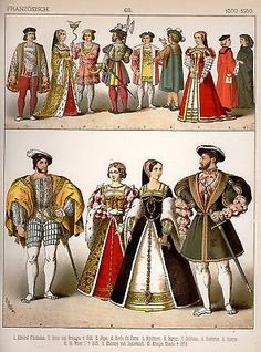 FRENCH COSTUMES 1500-1550 by Kretschmer - Chromolithograph - 1882