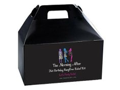 The Morning After - 21st Birthday Hangover Relief Kit (Female) by Distinct Impressions. $39.99. This kit designed for those who are serious about celebrating their 21st birthday in a BIG way!. Image on box is made larger to show details of the label.. The Morning After....21st Birthday Hangover Relief Kit - For Her. All items will come tucked inside a black box. - The ULTIMATE in party preparedness.. This kit includes everything they'll  need to survive the morni...