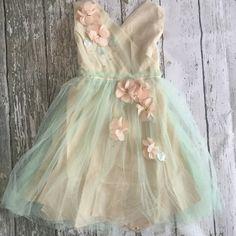 "The ""Heather"" Mint   Beige Flower Embellished Girls Dress"