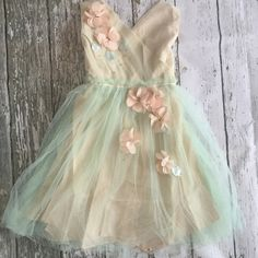 "The ""Heather"" Mint   Beige Flower Embellished Girls Dress"