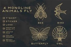 4 bundle monoline fly animals by vrozdesigns on @creativemarket