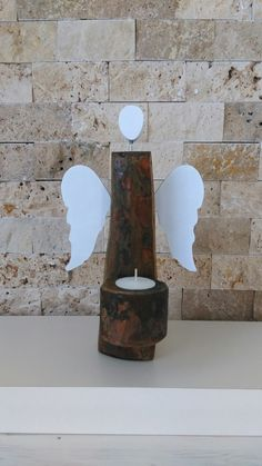 Melek Angle Ahşap Wood Mumluk Candle Holders