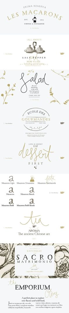 Macarons font family by Coto Mendoza for Latinotype - 5 Garamond inspired typefaces, plus script catchwords, and ornaments. Perfect for bistros, cupcake bakeries, food packaging, wine labels, cookbooks, menus, wedding invitations. Scrumptious!