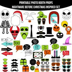 Instant Download Nightmare Before Christmas Inspired Printable Photo Booth Prop Set — Amanda Keyt DIY Photo Booth Props & More!
