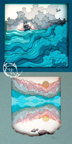3d Paper Art, Paper Artwork, Paper Artist, Origami, Layering Art, Cut Paper Illustration, Cut Out Art, Smart Art, Up Book