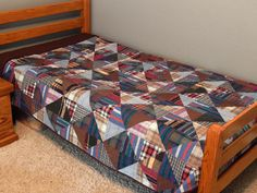 Custom Memory Quilt from Men's Shirts (The Fleming's Nine) - The Next Project: Quilts , Man Quilt, Boy Quilts, Scrappy Quilts, Flannel Quilts, Plaid Quilt, Shirt Quilts, Recycled Mens Shirt, Dad To Be Shirts, Men's Shirts