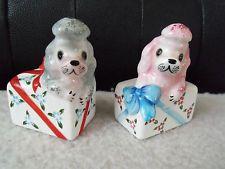 VINTAGE~PINK & GREY POODLE~DOGS~SALT & PEPPER SHAKERS~PY  JAPAN~