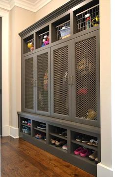 Gray Mudroom Lockers with Metal Grill Mesh Doors - Cottage - Laundry Room Kitchen Patio Doors, Modern Patio Doors, Small Mudroom Ideas, Farmhouse Style Curtains, Deep Closet, Dining Room Hutch, Hallway Storage, Door Shelves, Modern Shelving