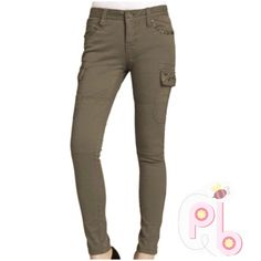 "20% OFF Bundles |The MISS ME Olive green Pants Feel your best with these comfortable Miss Me skinny jeans. They are soft material, and decorated with diamond/ rhinestone. They have a  zipper on the bottom which gives them a great look. Color is Olive green. And they are New With Tags. Measurements are: length 37"" , waist 29"" , inseam 29"" , rise 8 1/2 , cuff 10"" , thigh 17"" laying flat.  Fabric details: 96% Cotton , 4% Elastane. Miss Me Pants Skinny"