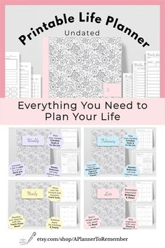 You'll find everything you need to plan your life with this one simple printable planner. #printableplanner Goals Planner, Life Planner, Weekly Planner, Happy Planner, Daily Planner Pages, Daily Planners, Daily Planner Printable, Evening Meditation, Health Planner