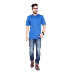 Buy Rajadhani Blue Polyester T-Shirt (Size-S) by Rajadhani Knitwear, on Paytm, Price: Rs.225