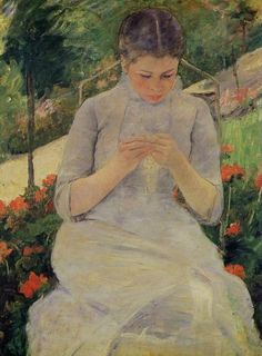 """Mary Cassatt. Pennsylvania. """"Jeune Fille au jardin"""" A woman sitting down looking at her hands. An extensive series of rigorously drawn, tenderly observed, yet largely unsentimental paintings and prints on the theme of the mother and child"""