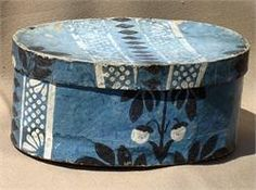 "Paste Board, Thread, and Wallpaper…A pleasing oval wallpaper box with interior newspaper reading"" Northhampton 1826 ""…The exterior paper is a mellow blue background with Black and White Florals with stripes in the same two colors…Minor wear on both the top and bottom edges, which is normally seen…also a small amount of water staining, mainly on the bottom area…The box is in fine condition for its' age…measuring 3 1/2"" Tall…a length of 7 5/8"" and 5"" Wide."