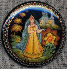 "Fedoskino-style lacquer miniature from Russia. Pin with a Russian beauty in kokoshnik. It's an illustration to ""The Scarlet Flower"", a Russian fairy tale."