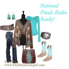 """""""NFR Outfit"""" by thetexascowgirl on Polyvore Aztec Tribal Cardigan Turquoise"""