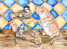 """Zoe's Tea Party - Art Print of watercolor painting 8x10"""" - cat, kitchen, Nursery, baby shower, Whimsical , cottage, cat, mice, chickadee"""