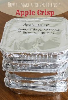Freezer Friendly Apple Crisp- The ratios are off, the topping is enough for two and I needed way more apples - used 10 med for two crisps!