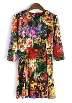 Multicolor Floral Round Neck Above Knee Knit Dress