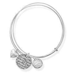 Triple Bangle Charm Bracelet ~ Sterling silver bangles with 10mm textured heart, 18mm inspirational message tag, and 12mm textured bead charm. The 1mm bangles are held together with a small ring.    .925 Sterling Silver  http://www.925silvercatalog.com/Merchant2/merchant.mvc?Screen=PROD_Code=SSC_Code=23106_Code=NA_Bracelet  Use Vendor Code: DCH90045