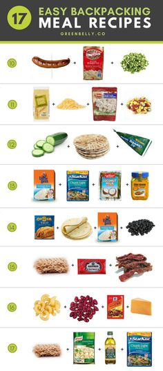 A full list of 17 simple backpacking meal recipes. Fast and easy meals requiring only 4 ingredients or less. Some non-cook meals, others just need to add hot water. You can find most ingredients at your average grocery store on the Appalachian Trail. Trekking Food, Backpacking Food, Camping Guide, Camping Snacks, Camping Cooking, Camping Recipes, Camping Stuff, Easy Camping Food, Cooking Games