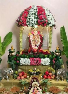 64 trendy flowers decorations for pooja Flower Decoration For Ganpati, Ganpati Decoration Design, Mandir Decoration, Ganapati Decoration, Housewarming Decorations, Diwali Decorations, Festival Decorations, Flower Decorations, Quince Decorations