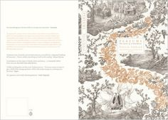 """Kirsty White on her winning jacket design, """"My drawing/design was inspired by references of French pattern and typography from the 18th century. This starting point allowed me to establish a relevant context in which I could represent both scenes from the book, as well as the intertwining of Grenouille's unsettling talents with the women (represented by the flowers) and the world around him. My drawing style aimed to emulate 18th-century engravings."""""""