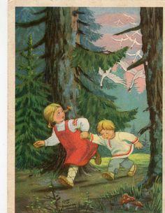 Vintage postcard   Fairy tale Children in by sharonfostervintage, $1.50