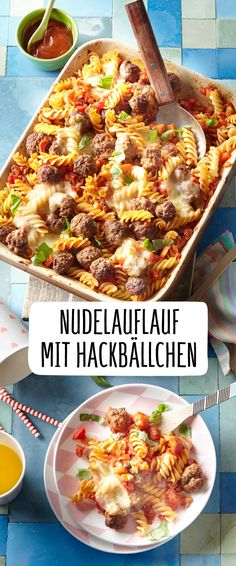 - Bunter Nudelauflauf mit Hackbällchen Our REWE recipe for colorful pasta casserole with meatballs definitely has what it takes to prepare your next favorite meal: colorful vegetables meet delicious meatballs and noodles, and the melted cheese completes t Pasta Casserole, Pasta Bake, Melting Pot Recipes, Homemade Pesto Sauce, Tasty Meatballs, Cooking On The Grill, Slow Food, Food Trends, Food Porn