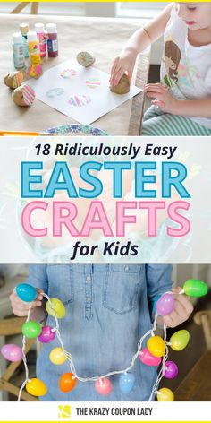 Easter crafts for kids and toddlers need to be easy and quick! There are so many complicated Easter DIY projects out there, it's refreshing to see Easter crafts that are simple, fast, and cheap to make. The Krazy Coupon Lady shows the best DIY Easter craft projects for kids that you'll both enjoy, including DIY chicks, string wrapped eggs, DIY Easter string lights, easter egg dye tricks, egg painting, Easter basket ideas, candy treats, decor, jewelry, and more. Craft Projects For Kids, Diy Projects, Craft Ideas, Homemade Crafts, Diy Crafts, Do It Yourself Organization, Egg Dye, Happy Easter Day, Coupon Lady