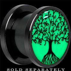 00 Gauge Black Titanium Tree of Life Glow in the Dark Screw Fit Plug | Body Candy Body Jewelry
