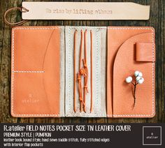 $41+ | Field Notes Pocket Size Leather Journal Cover | Pumpkin | Premium Style #TravelersNotebook #FieldNotes #PocketSize #LeatherJournal #Journaling #MaskingTape #Planner #PlannerGirl #PlannerGeek #PlannerLove #PlannerCommunity #PlannerAddicts #StationeryAddicts #JournalLove #BespokeLeather #Gifts