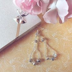 Crystal Snow Handmade earrings from japaneese beads and crystal czech beads. #earringsshop #earrings #handmadeearrings #joyfactorytsa
