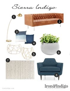 Living room design with blue and brass accents. Love the leather sofa!