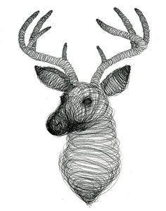 Spiral Design Deer  Print  Ink  Illustration  Deer  by TwoDeer #spiral #deer