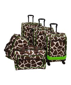 Green Giraffe Five-Piece Spinner Suitcase Set