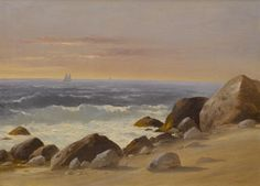 "Charles Lanman: ""Block Island, RI"", oil on heavy paper, Dimensions: H: 10 15/16 x W: 14 15/16 in. (27.8 x 38 cm), current location: The Walters Art Museum."