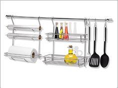 suporte escorredor de parede cromado kit utensilios