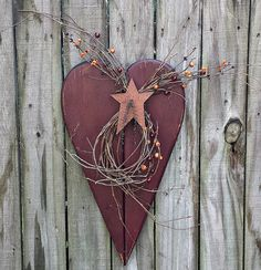 Large Primitive Autumn Fall Heart with by GypsyWindPrimitives