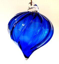 Hand Blown Glass Christmas Ornament Cobalt Blue Teardrop One