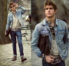 Ambig jean Jacket , Viparo brown plaid, HM cream cardigan, Aldo dogtags, 80spurple sunglasses, Doctrinedenim jeans, DrScholls boots