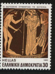 Stamp: Homer's Epics - Ulysses meeting with Nafsika (Greece) (Ancient Greek Authors) Mi:GR 1559 Greek Mythology Tattoos, Greek And Roman Mythology, Greek Gods, Old Stamps, Rare Stamps, Homer Odyssey, Postage Stamp Art, Principles Of Art, Albrecht Durer