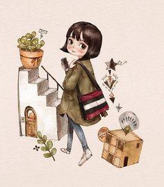 단발머리 소녀  #일러스트 #일러스트레이션 #소녀 #단발머리 #점퍼 #화분 #캐릭터 #illust #illustration #girl #girlish #character