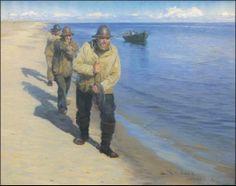 Pescadores puxando um barco, 1885 Peder Severin Kroyer ( Noruega,  1851-1909) Óleo sobre tela Oglethorpe University Museum of Art ...