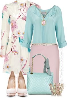 """""""Office Outfit - Pastel Color"""" by celinecucci ❤ liked on Polyvore"""
