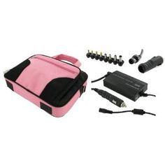 rooCASE 4n1 Combo - Acer Aspire One AOD250-1955 10.1-Inch with AC and DC Adapter Charger Home / Car / Airplane - Pink / Black Deluxe Bag. 1 Year Warranty