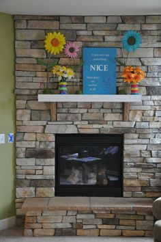 Turning Stones Blog: Fireplace Mantle redo. Like this stone work and mantle