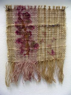 Tiny weaving with a botanical dye print from a red barberry shrub, woven by Stephany Latham.  An amazing dye plant that makes a hot pink color.