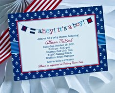AHOY Its a BOY Printable Nautical Baby Shower INVITATION - Nautical Baby Shower Invitation Party Printables. $18.00, via Etsy.